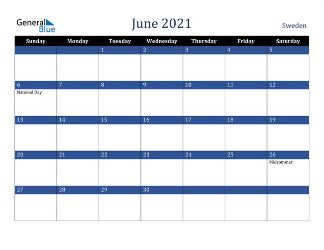 June 2021 Sweden Calendar