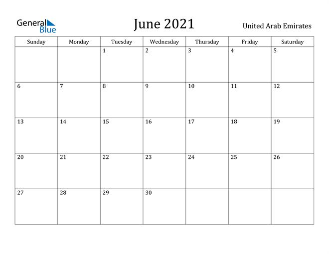 Image of June 2021 United Arab Emirates Calendar with Holidays Calendar