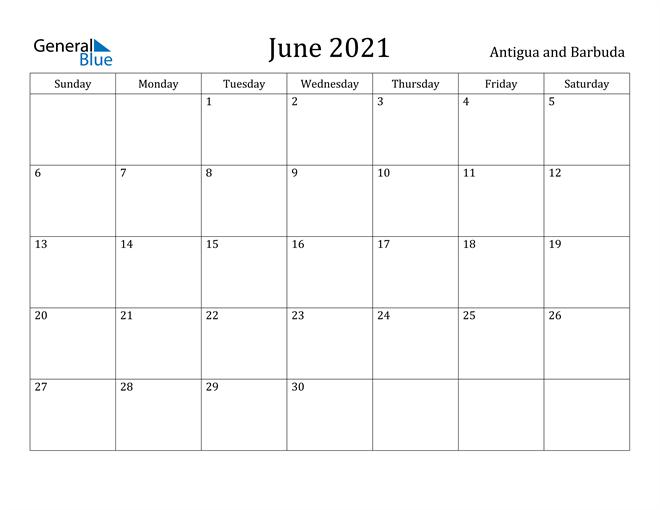 Image of June 2021 Antigua and Barbuda Calendar with Holidays Calendar