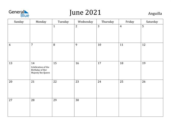 Image of June 2021 Anguilla Calendar with Holidays Calendar