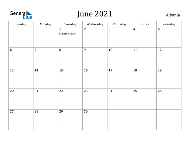Image of June 2021 Albania Calendar with Holidays Calendar