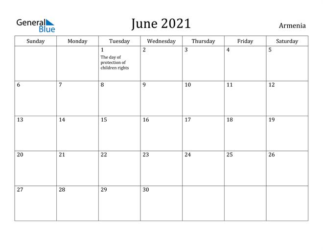 Image of June 2021 Armenia Calendar with Holidays Calendar