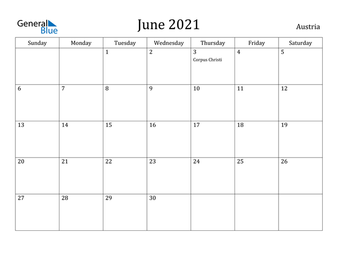 Image of June 2021 Austria Calendar with Holidays Calendar