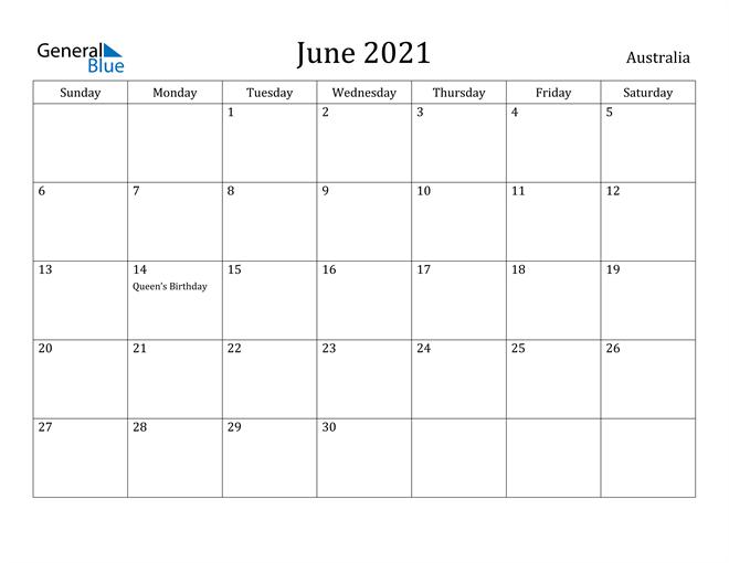 Image of June 2021 Australia Calendar with Holidays Calendar