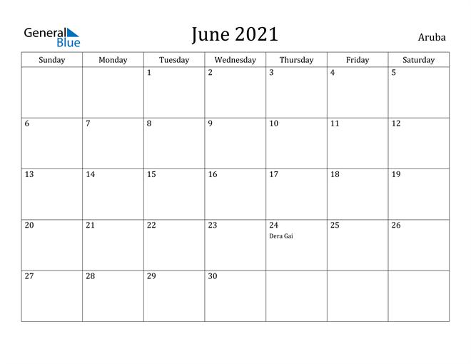 Image of June 2021 Aruba Calendar with Holidays Calendar
