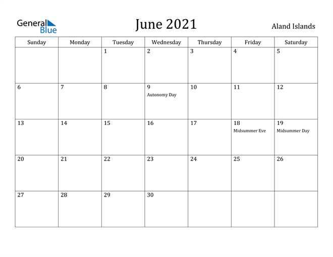 Image of June 2021 Aland Islands Calendar with Holidays Calendar