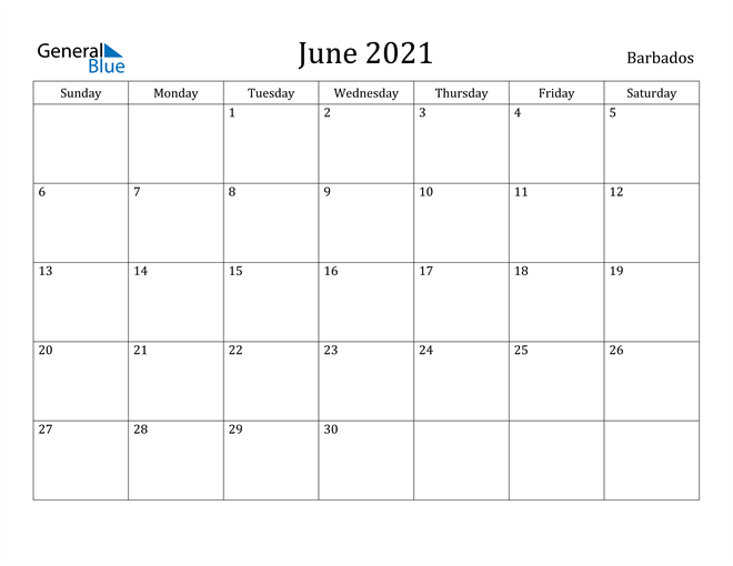 Image of June 2021 Barbados Calendar with Holidays Calendar