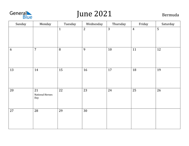 Image of June 2021 Bermuda Calendar with Holidays Calendar