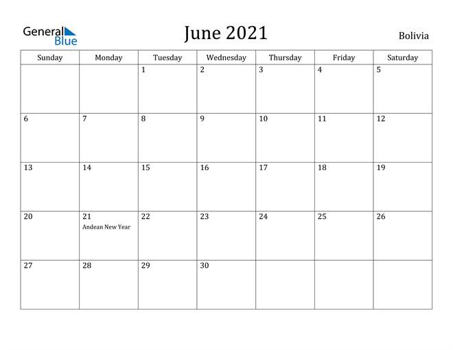 Image of June 2021 Bolivia Calendar with Holidays Calendar