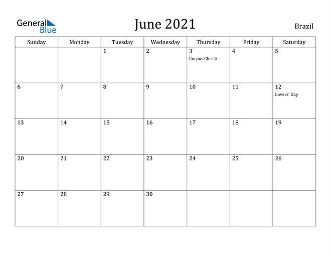 Image of June 2021 Brazil Calendar with Holidays Calendar