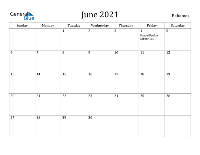 Image of June 2021 Bahamas Calendar with Holidays Calendar