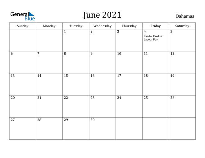 Image of June 2021 Bahamas Calendar with Holidays Calendar