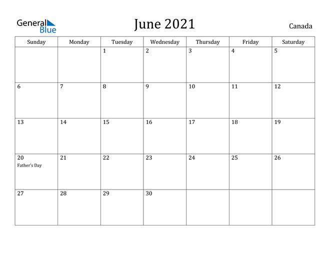 Image of June 2021 Canada Calendar with Holidays Calendar