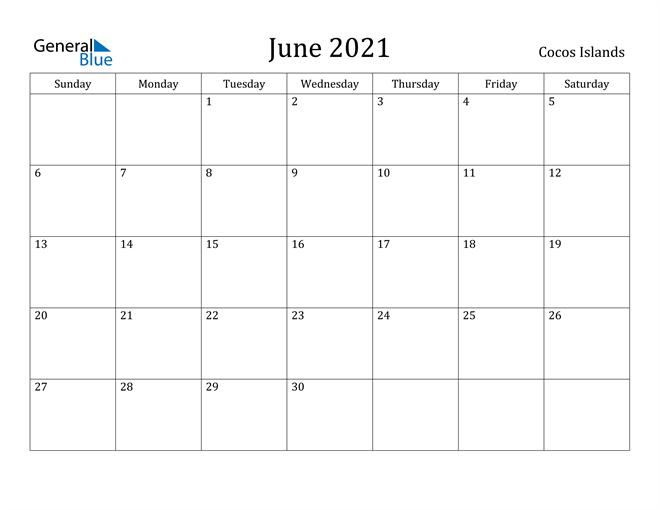 Image of June 2021 Cocos Islands Calendar with Holidays Calendar