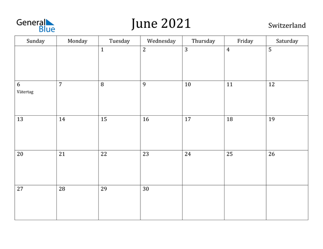 Image of June 2021 Switzerland Calendar with Holidays Calendar
