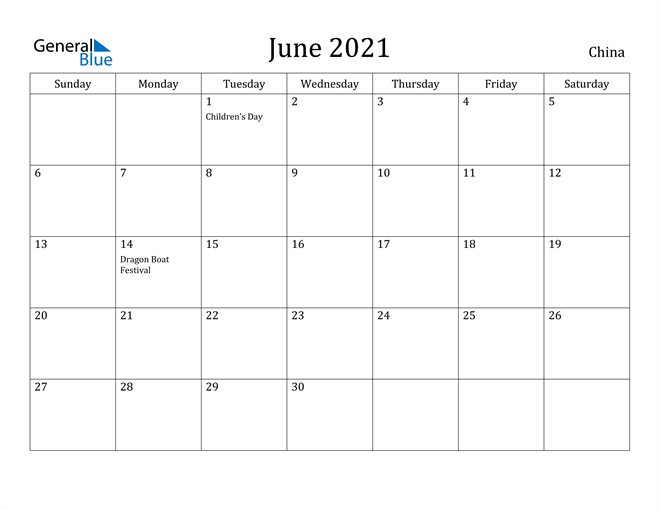 Image of June 2021 China Calendar with Holidays Calendar