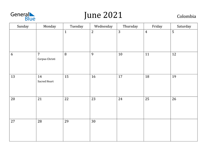 Image of June 2021 Colombia Calendar with Holidays Calendar