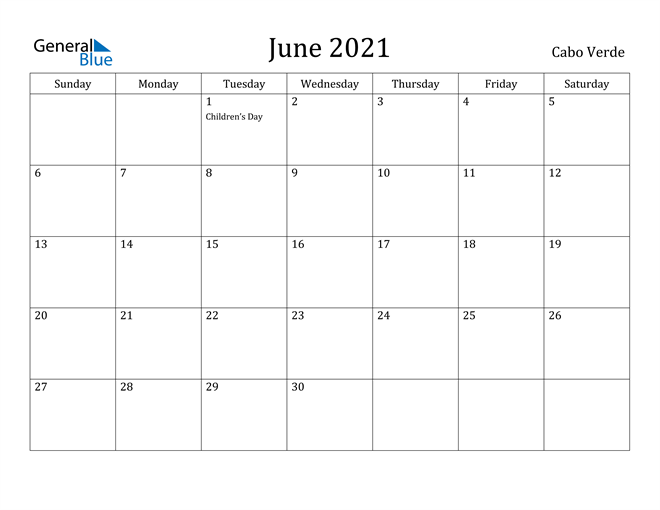 Image of June 2021 Cabo Verde Calendar with Holidays Calendar