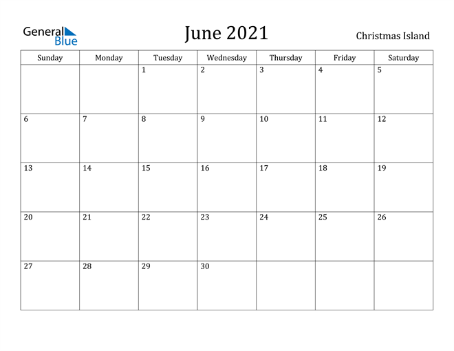 Image of June 2021 Christmas Island Calendar with Holidays Calendar