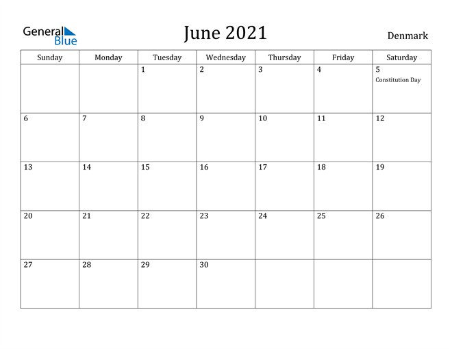 Image of June 2021 Denmark Calendar with Holidays Calendar