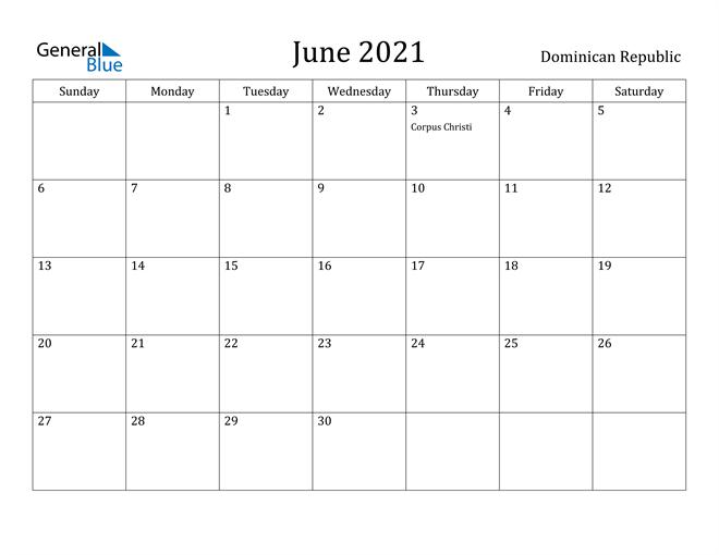 Image of June 2021 Dominican Republic Calendar with Holidays Calendar