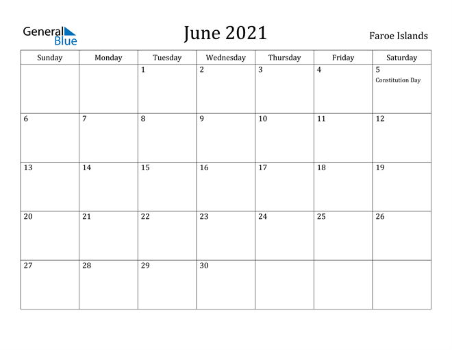Image of June 2021 Faroe Islands Calendar with Holidays Calendar
