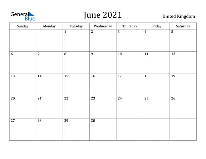 Image of June 2021 United Kingdom Calendar with Holidays Calendar