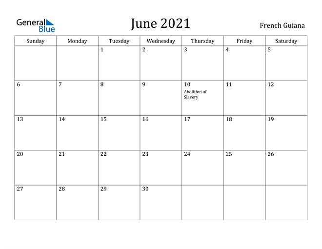 Image of June 2021 French Guiana Calendar with Holidays Calendar
