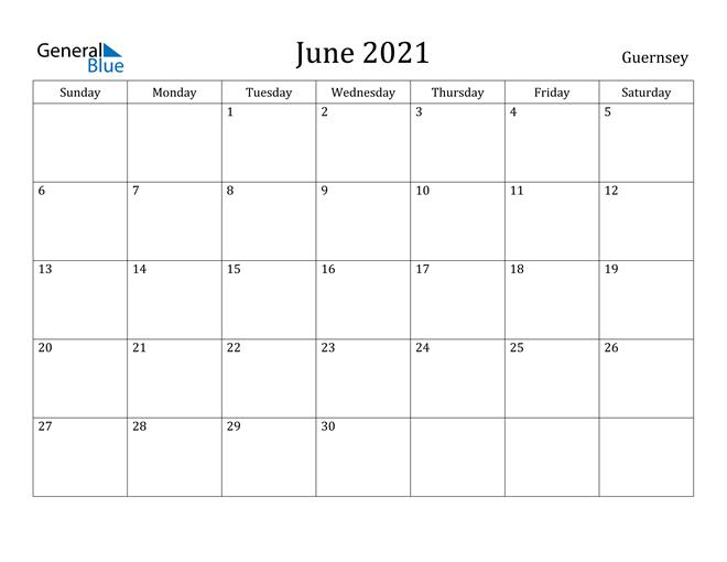 Image of June 2021 Guernsey Calendar with Holidays Calendar