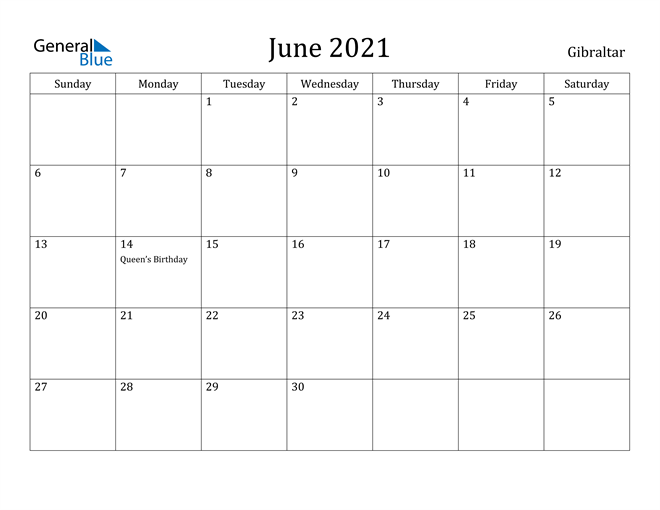 Image of June 2021 Gibraltar Calendar with Holidays Calendar