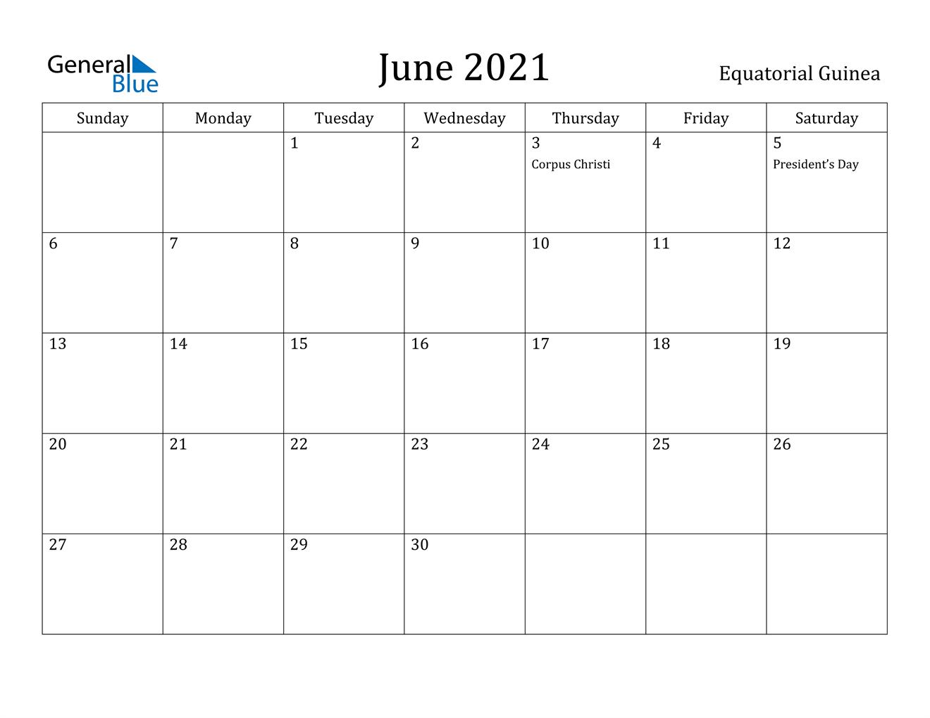 June 2021 Calendar - Equatorial Guinea