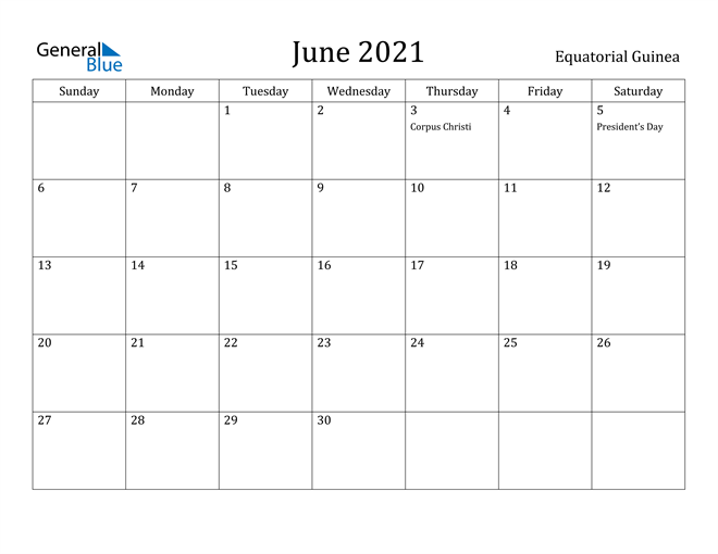 Image of June 2021 Equatorial Guinea Calendar with Holidays Calendar