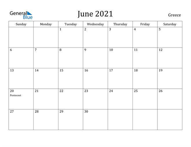 Image of June 2021 Greece Calendar with Holidays Calendar