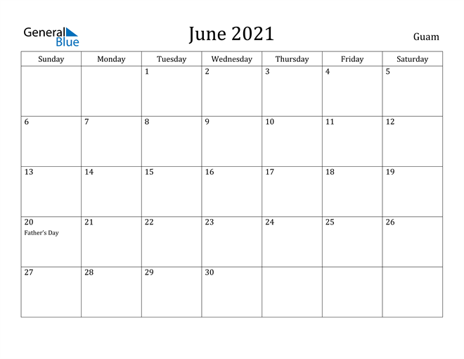 Image of June 2021 Guam Calendar with Holidays Calendar