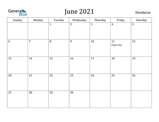 Image of June 2021 Honduras Calendar with Holidays Calendar