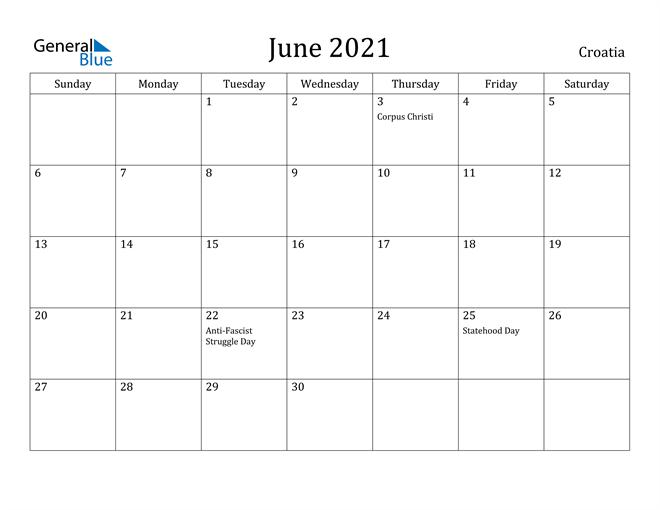 Image of June 2021 Croatia Calendar with Holidays Calendar