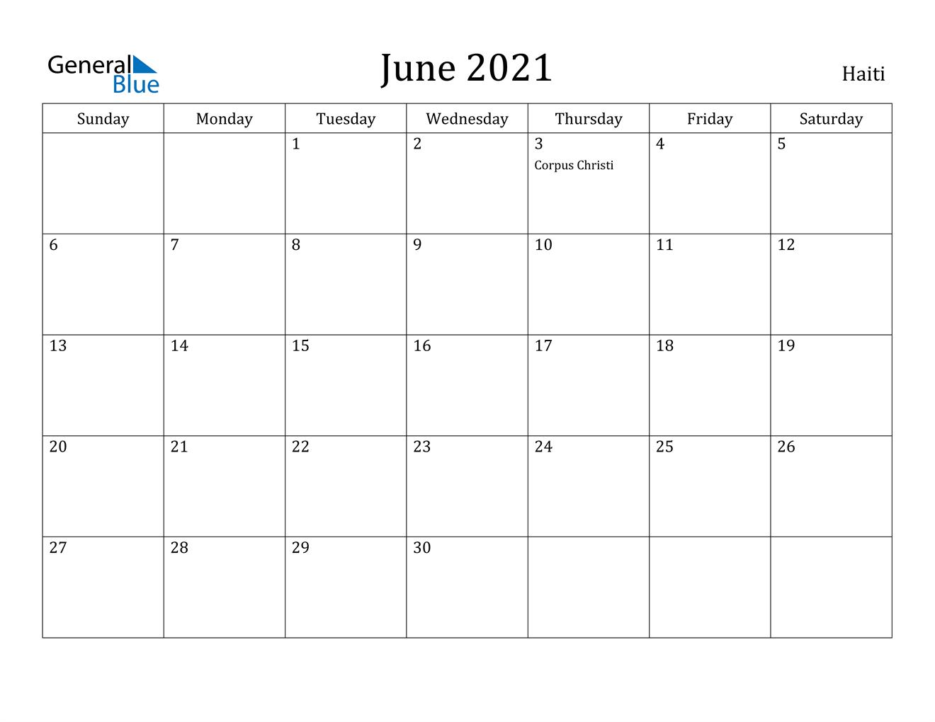 June 2021 Calendar - Haiti