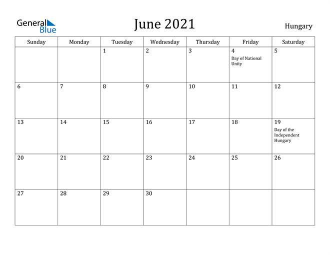 Image of June 2021 Hungary Calendar with Holidays Calendar