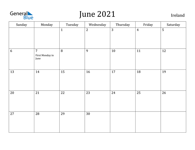 Image of June 2021 Ireland Calendar with Holidays Calendar