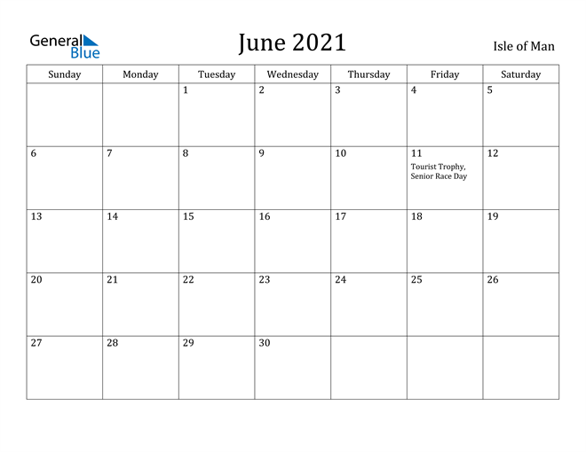Image of June 2021 Isle of Man Calendar with Holidays Calendar