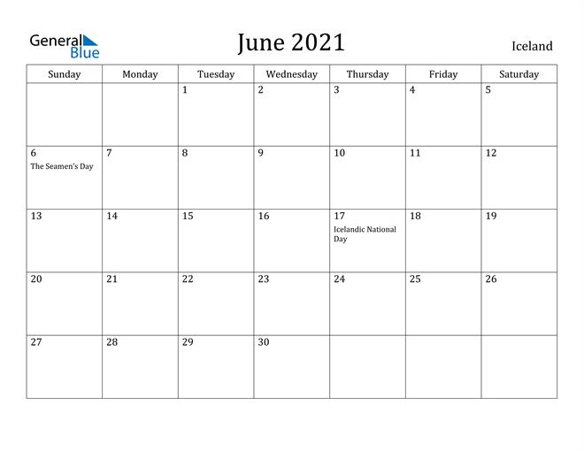 Image of June 2021 Iceland Calendar with Holidays Calendar