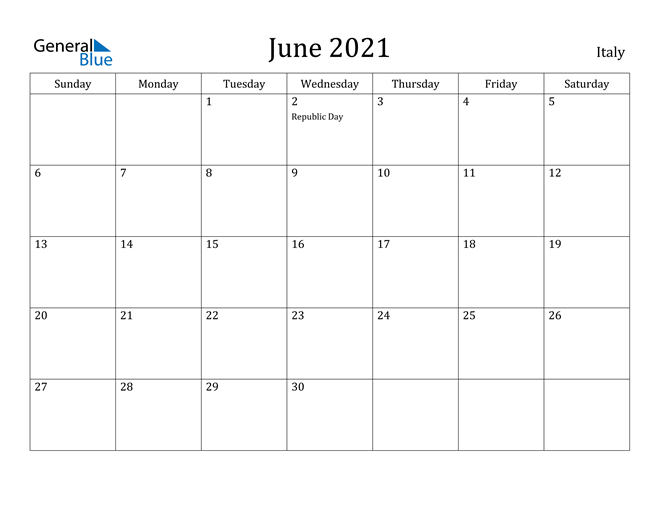 Image of June 2021 Italy Calendar with Holidays Calendar