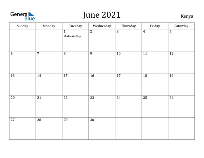 Image of June 2021 Kenya Calendar with Holidays Calendar