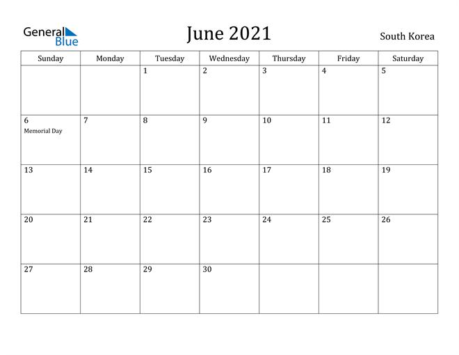 Image of June 2021 South Korea Calendar with Holidays Calendar
