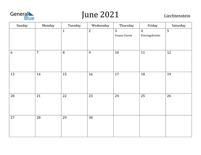 Image of June 2021 Liechtenstein Calendar with Holidays Calendar