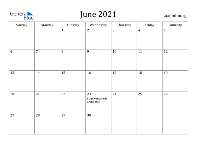 Image of June 2021 Luxembourg Calendar with Holidays Calendar