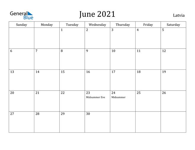 Image of June 2021 Latvia Calendar with Holidays Calendar