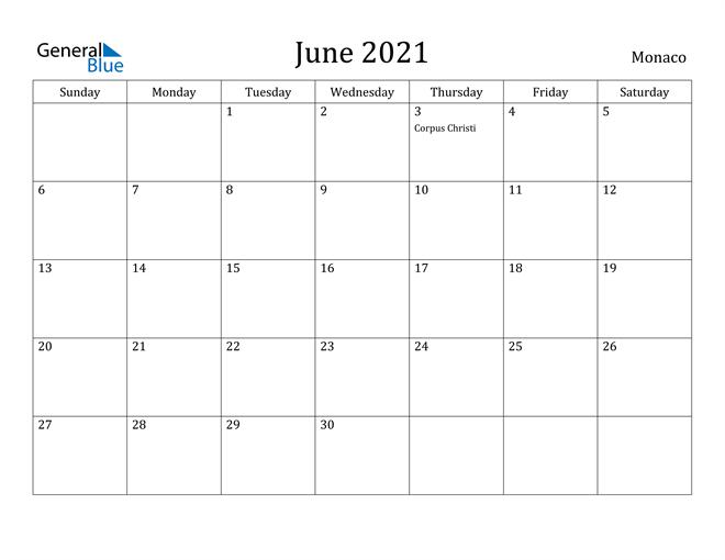 Image of June 2021 Monaco Calendar with Holidays Calendar