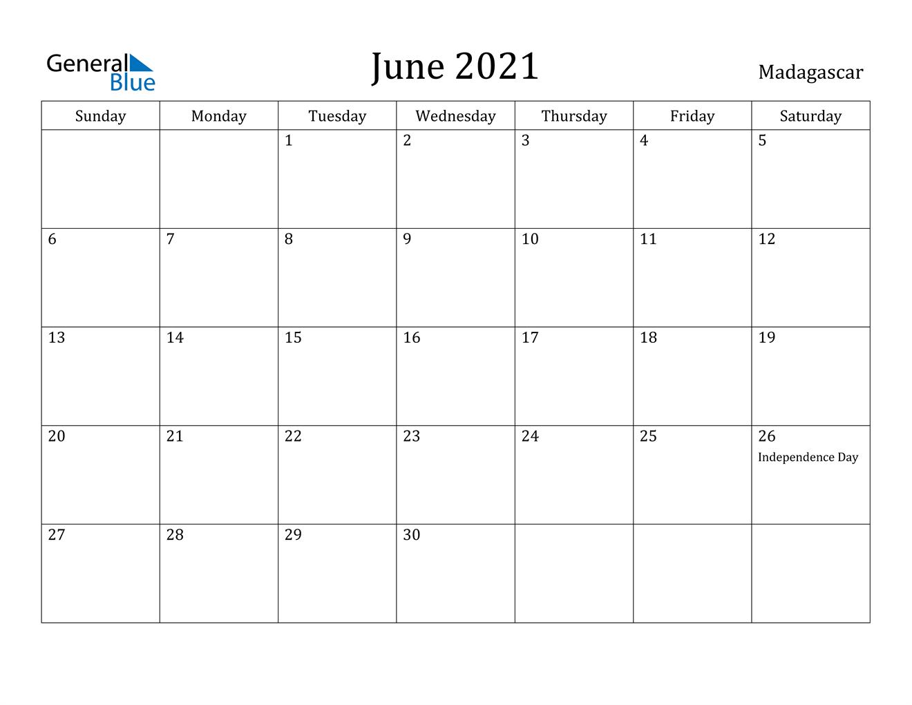 June 2021 Calendar - Madagascar