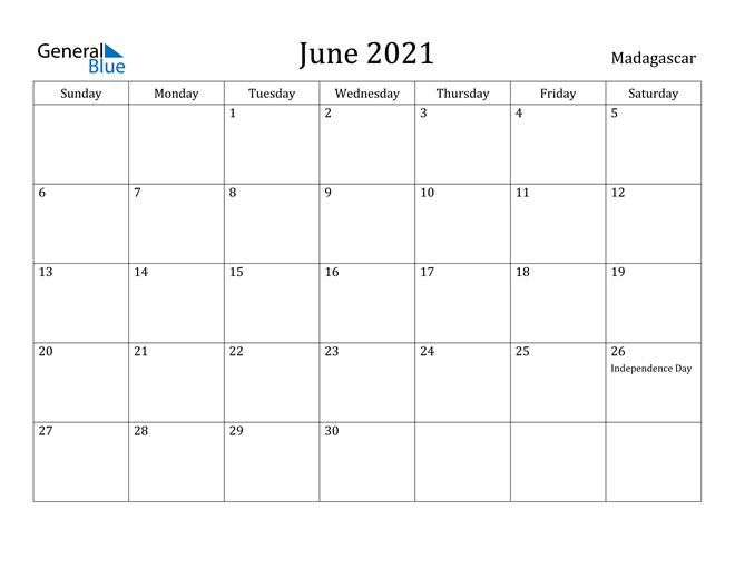 Image of June 2021 Madagascar Calendar with Holidays Calendar